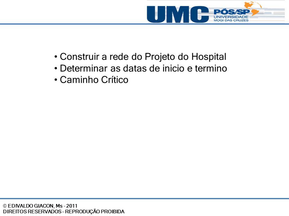 © EDIVALDO GIACON, Ms - 2011 DIREITOS RESERVADOS – REPRODUÇÃO PROIBIDA Construir a rede do Projeto do Hospital Determinar as datas de inicio e termino