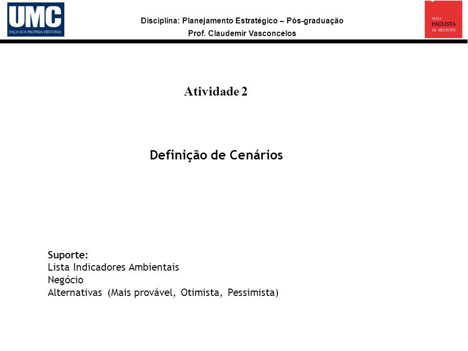 Disciplina: Planejamento Estratégico – Pós-graduação Prof. Claudemir Vasconcelos Atividade 2 a Definição de Cenários Suporte: Lista Indicadores Ambien