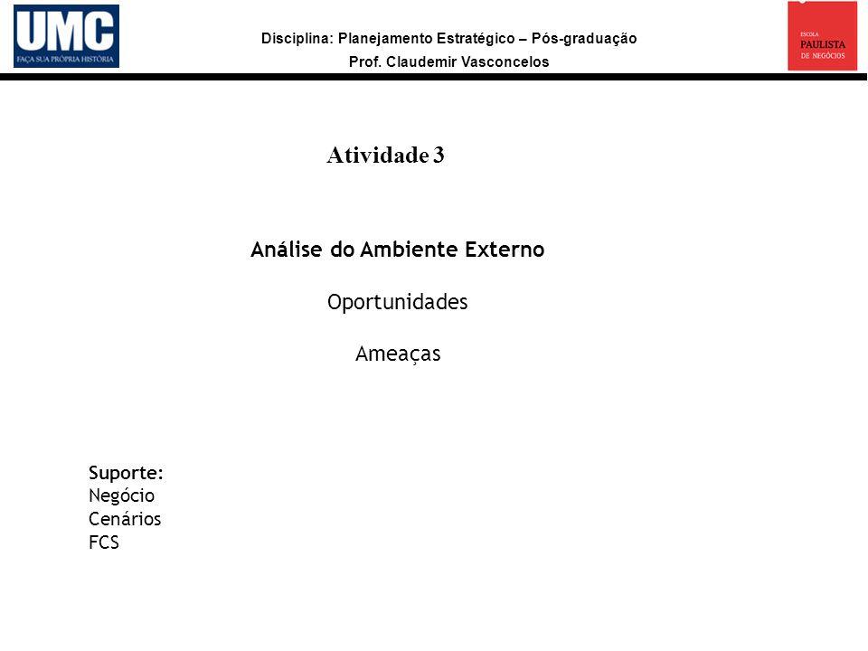 Disciplina: Planejamento Estratégico – Pós-graduação Prof. Claudemir Vasconcelos Atividade 3 a Análise do Ambiente Externo Oportunidades Ameaças Supor