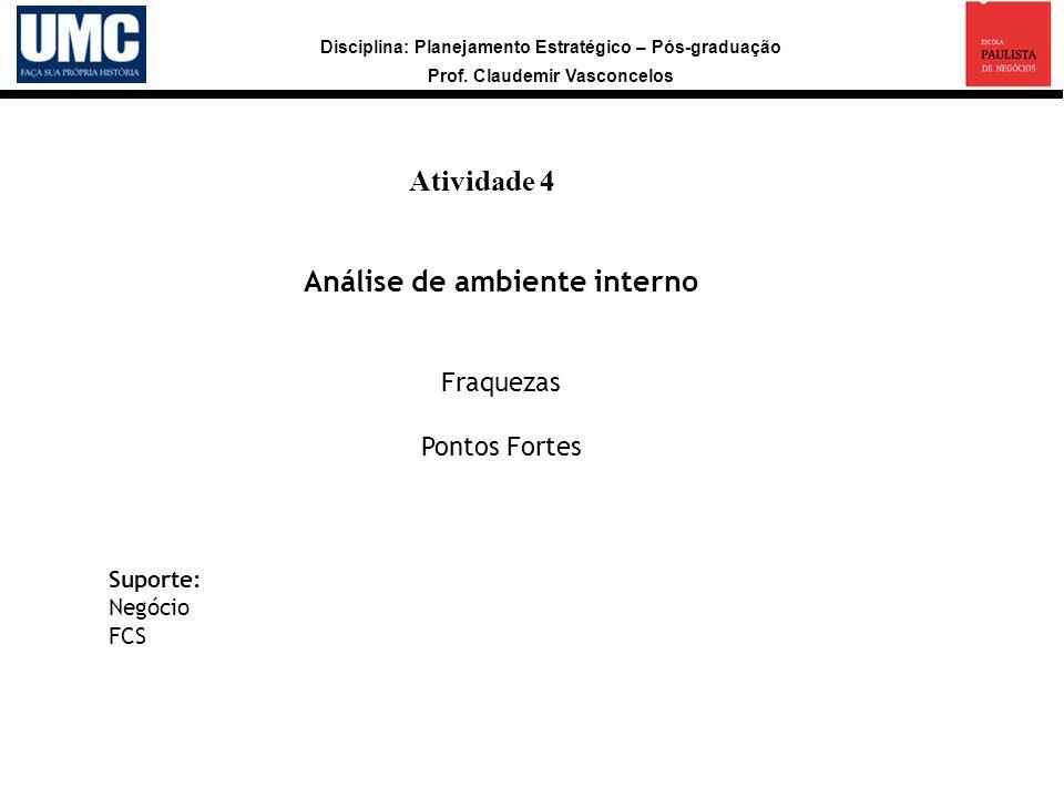 Disciplina: Planejamento Estratégico – Pós-graduação Prof. Claudemir Vasconcelos Atividade 4 a Análise de ambiente interno Fraquezas Pontos Fortes Sup