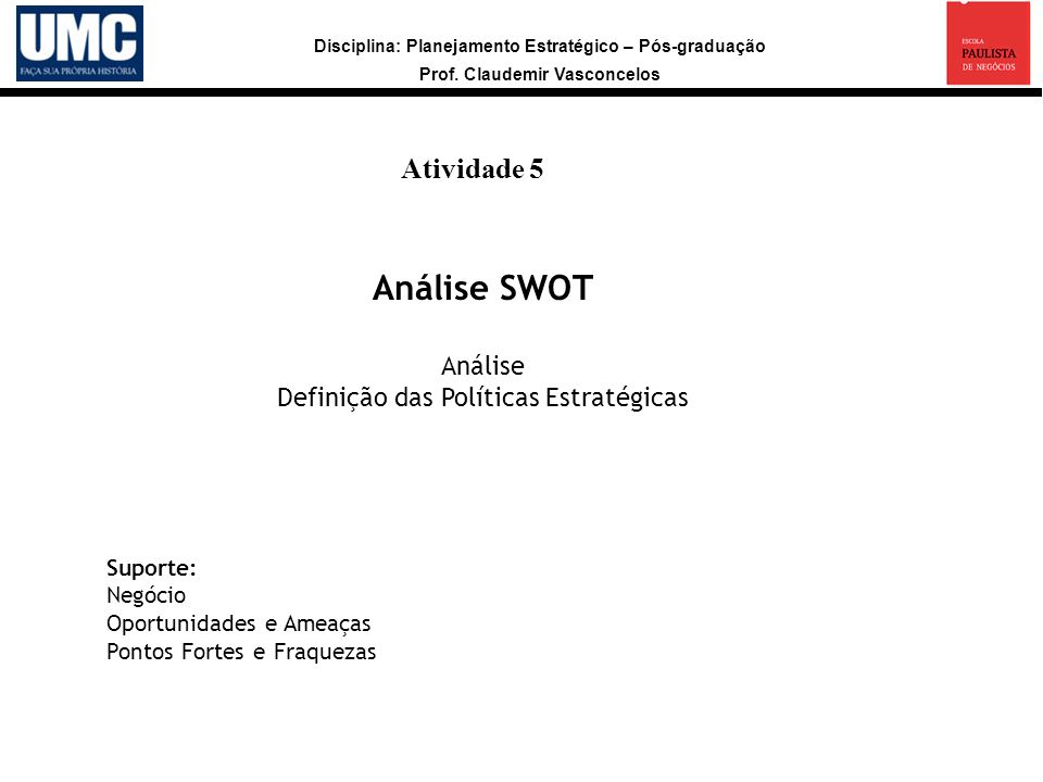 Disciplina: Planejamento Estratégico – Pós-graduação Prof. Claudemir Vasconcelos Atividade 5 a Análise SWOT Análise Definição das Políticas Estratégic