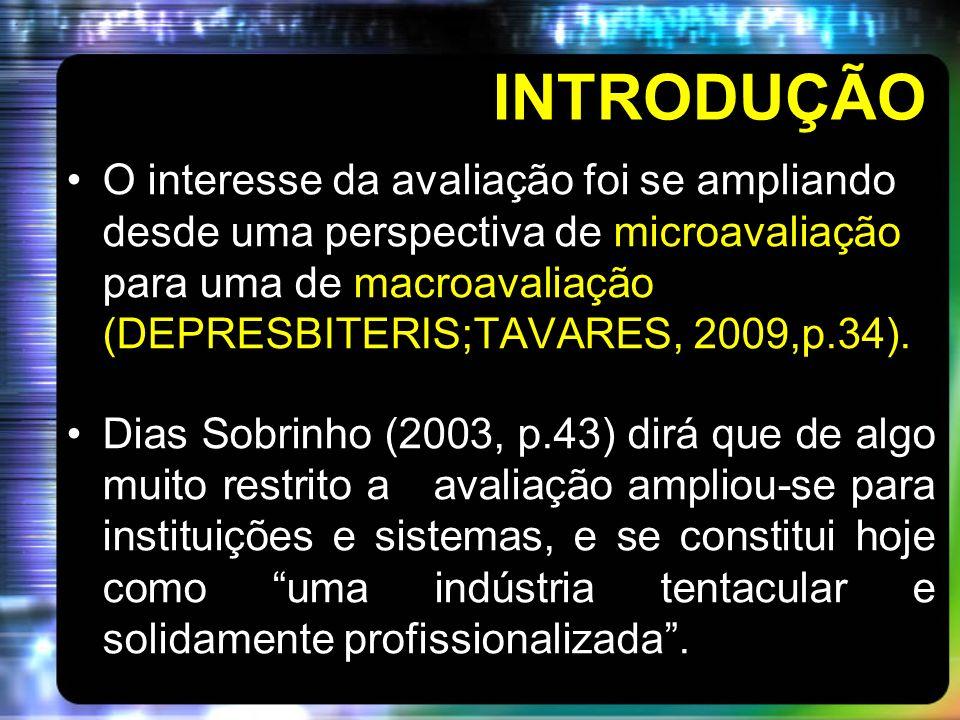 INTRODUÇÃO O interesse da avaliação foi se ampliando desde uma perspectiva de microavaliação para uma de macroavaliação (DEPRESBITERIS;TAVARES, 2009,p