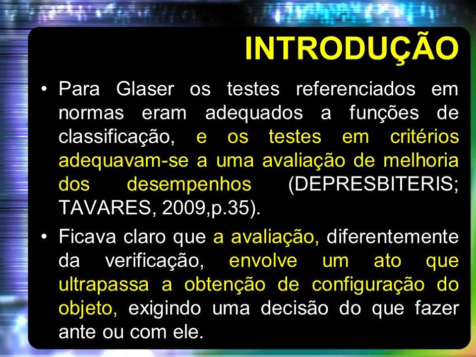 INTRODUÇÃO Para Glaser os testes referenciados em normas eram adequados a funções de classificação, e os testes em critérios adequavam-se a uma avalia