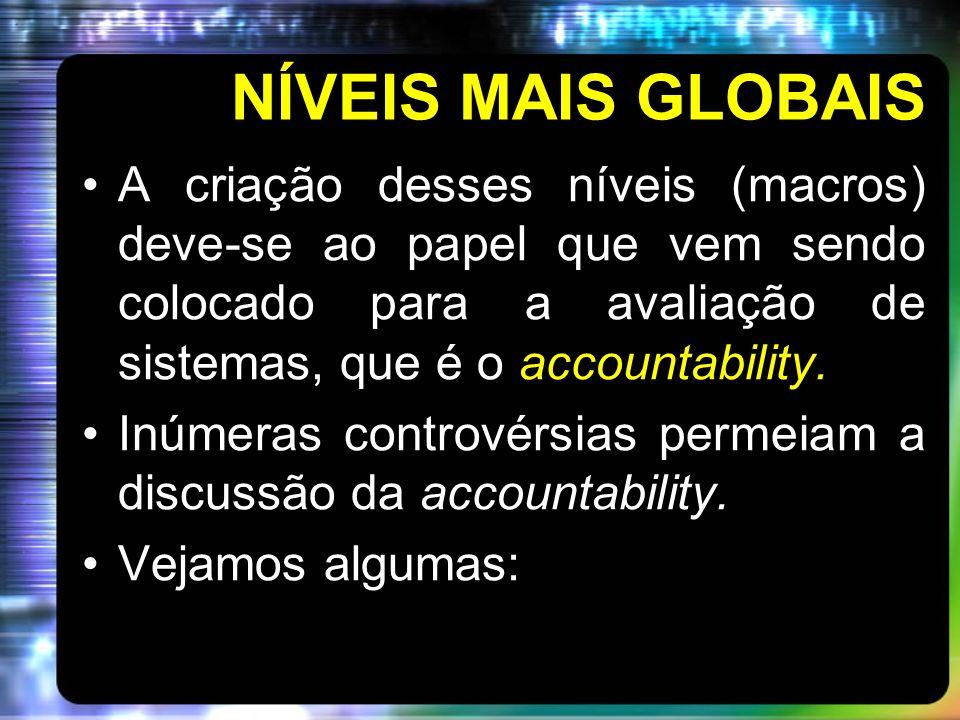 NÍVEIS MAIS GLOBAIS A criação desses níveis (macros) deve-se ao papel que vem sendo colocado para a avaliação de sistemas, que é o accountability. Inú