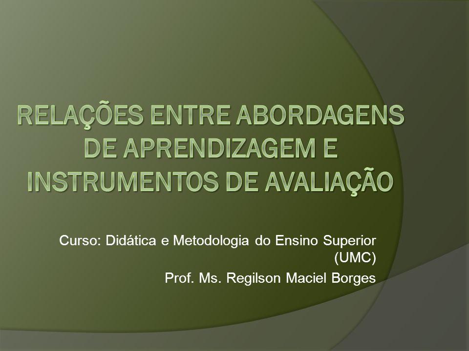 Curso: Didática e Metodologia do Ensino Superior (UMC) Prof. Ms. Regilson Maciel Borges