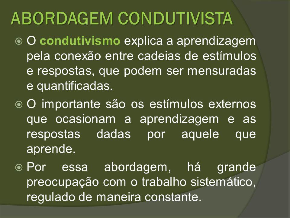ABORDAGEM CONDUTIVISTA O condutivismo explica a aprendizagem pela conexão entre cadeias de estímulos e respostas, que podem ser mensuradas e quantific
