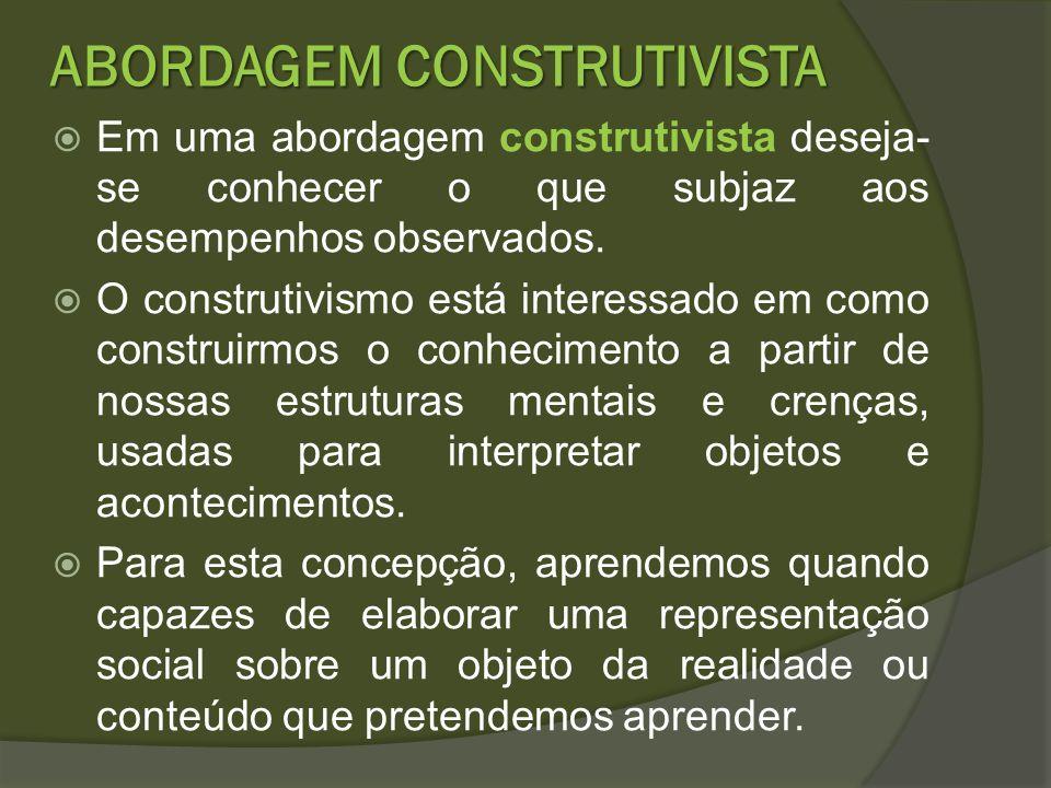 ABORDAGEM CONSTRUTIVISTA Em uma abordagem construtivista deseja- se conhecer o que subjaz aos desempenhos observados. O construtivismo está interessad