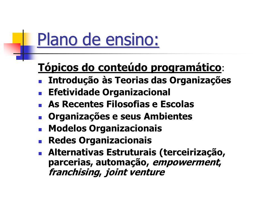 Plano de ensino: Tópicos do conteúdo programático : Introdução às Teorias das Organizações Efetividade Organizacional As Recentes Filosofias e Escolas