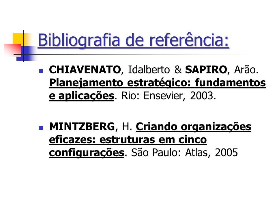 Bibliografia de referência: CHIAVENATO, Idalberto & SAPIRO, Arão. Planejamento estratégico: fundamentos e aplicações. Rio: Ensevier, 2003. MINTZBERG,