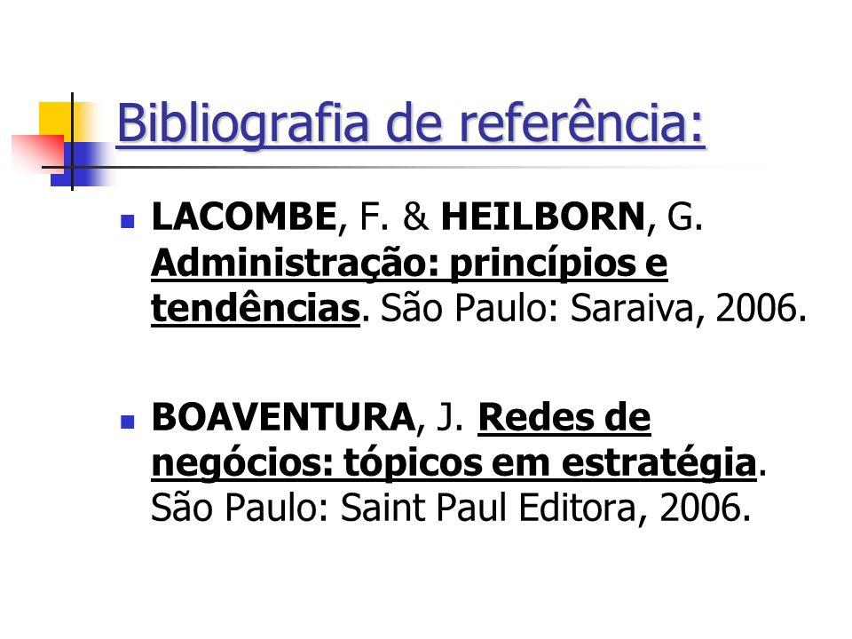 Bibliografia de referência: LACOMBE, F. & HEILBORN, G. Administração: princípios e tendências. São Paulo: Saraiva, 2006. BOAVENTURA, J. Redes de negóc