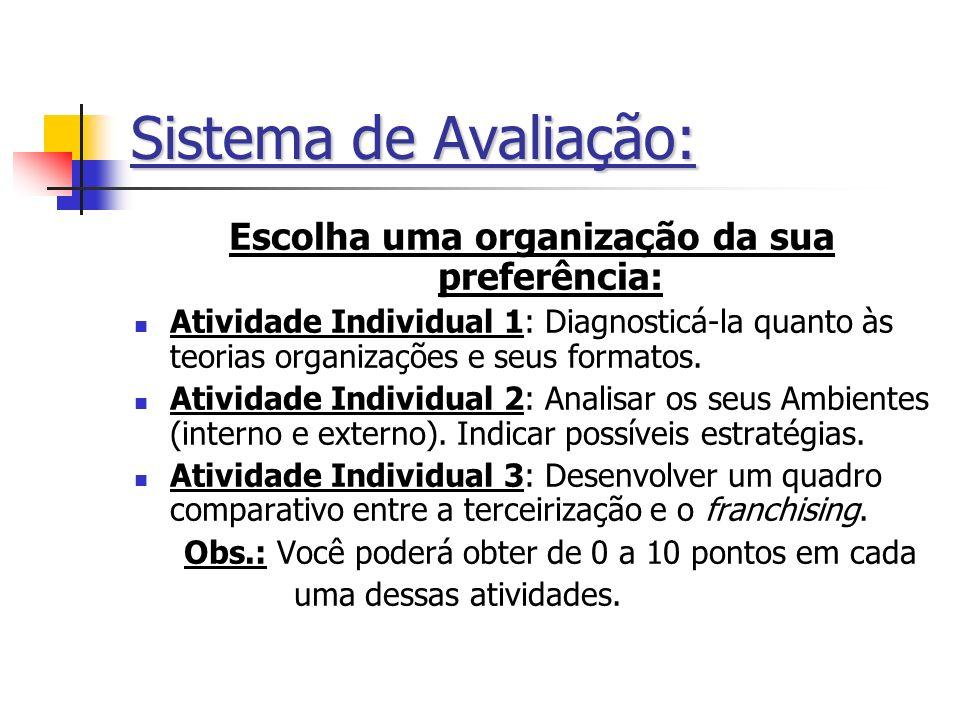 Sistema de Avaliação: Escolha uma organização da sua preferência: Atividade Individual 1: Diagnosticá-la quanto às teorias organizações e seus formato