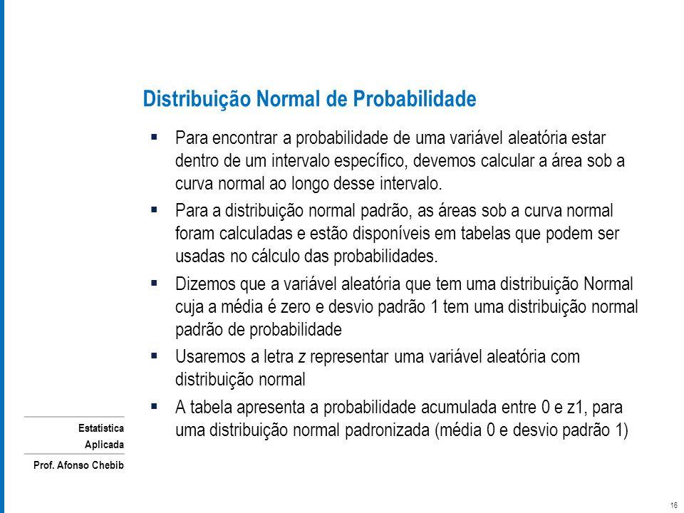Estatística Aplicada Prof. Afonso Chebib Distribuição Normal de Probabilidade Para encontrar a probabilidade de uma variável aleatória estar dentro de