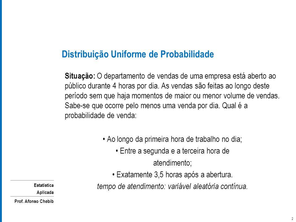 Estatística Aplicada Prof. Afonso Chebib Situação: O departamento de vendas de uma empresa está aberto ao público durante 4 horas por dia. As vendas s
