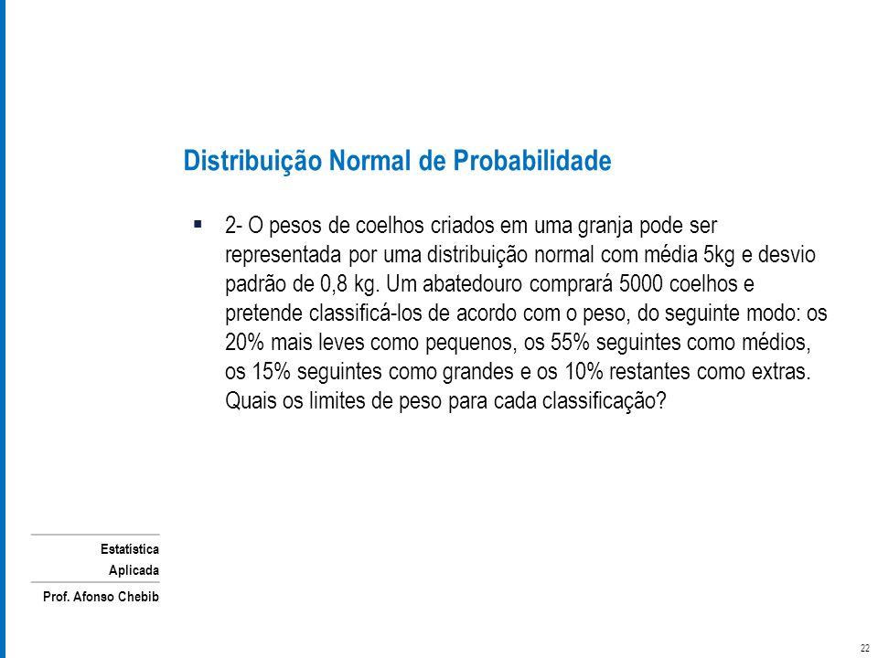 Estatística Aplicada Prof. Afonso Chebib 2- O pesos de coelhos criados em uma granja pode ser representada por uma distribuição normal com média 5kg e