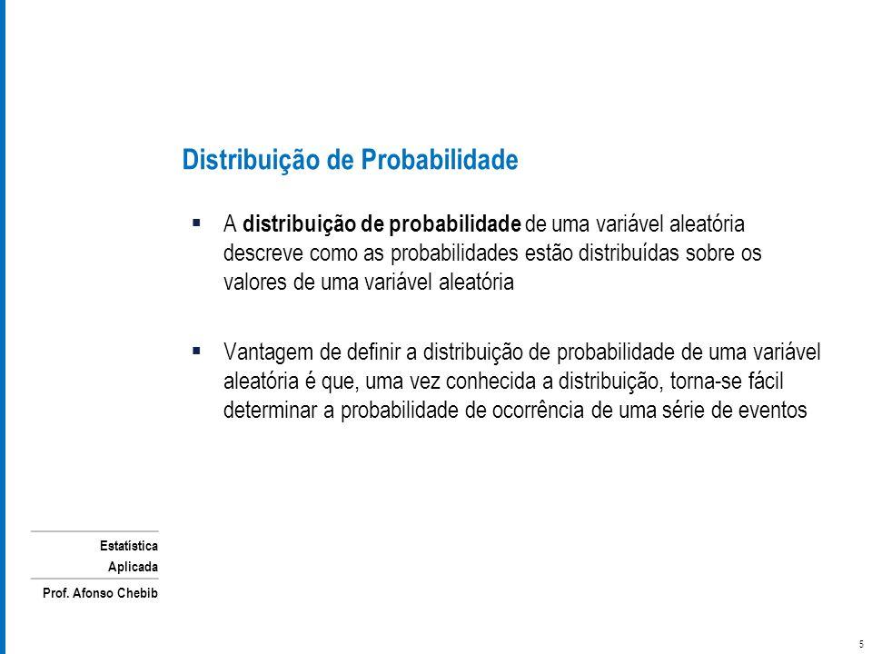 Estatística Aplicada Prof. Afonso Chebib Distribuição de Probabilidade A distribuição de probabilidade de uma variável aleatória descreve como as prob