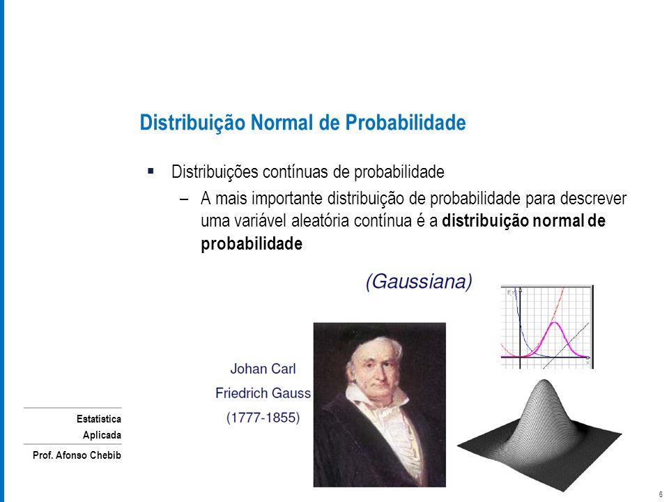 Estatística Aplicada Prof. Afonso Chebib Distribuição Normal de Probabilidade Distribuições contínuas de probabilidade –A mais importante distribuição