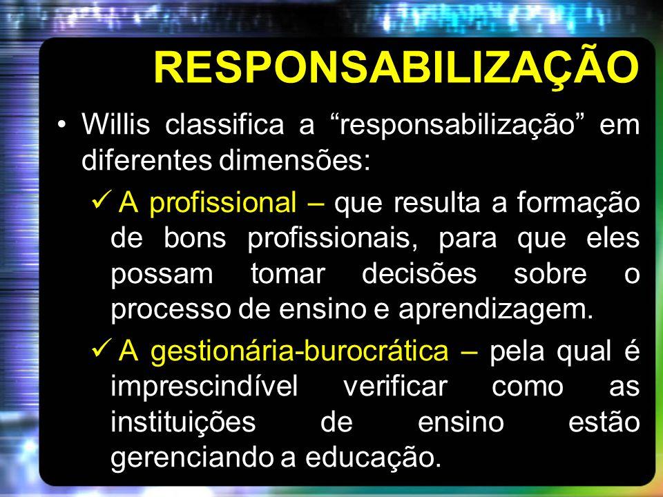 RESPONSABILIZAÇÃO Willis classifica a responsabilização em diferentes dimensões: A profissional – que resulta a formação de bons profissionais, para que eles possam tomar decisões sobre o processo de ensino e aprendizagem.