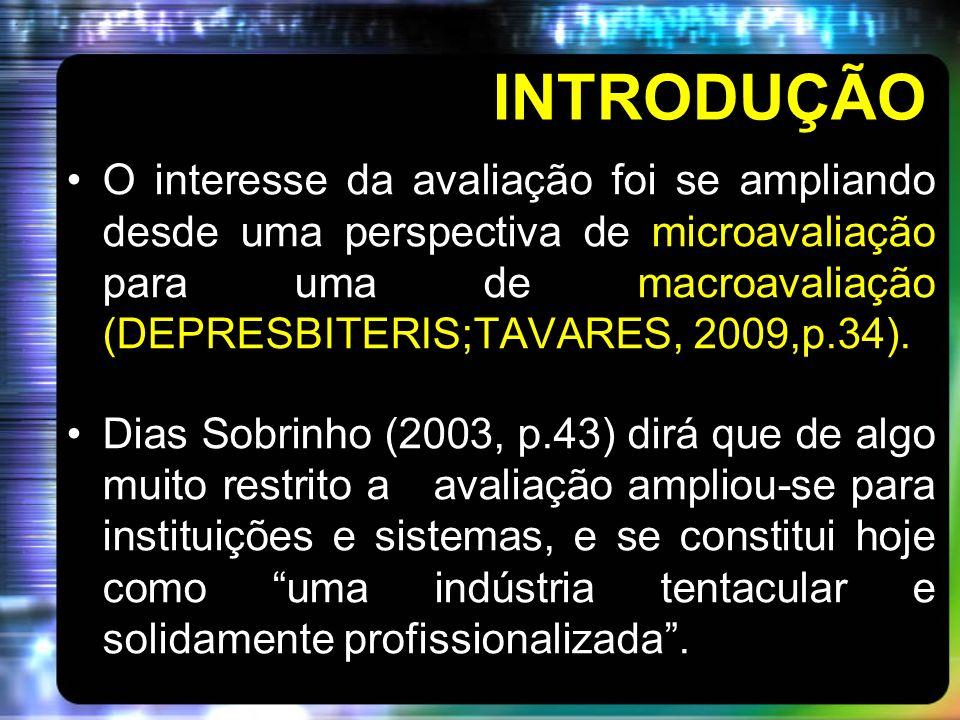 INTRODUÇÃO O interesse da avaliação foi se ampliando desde uma perspectiva de microavaliação para uma de macroavaliação (DEPRESBITERIS;TAVARES, 2009,p.34).