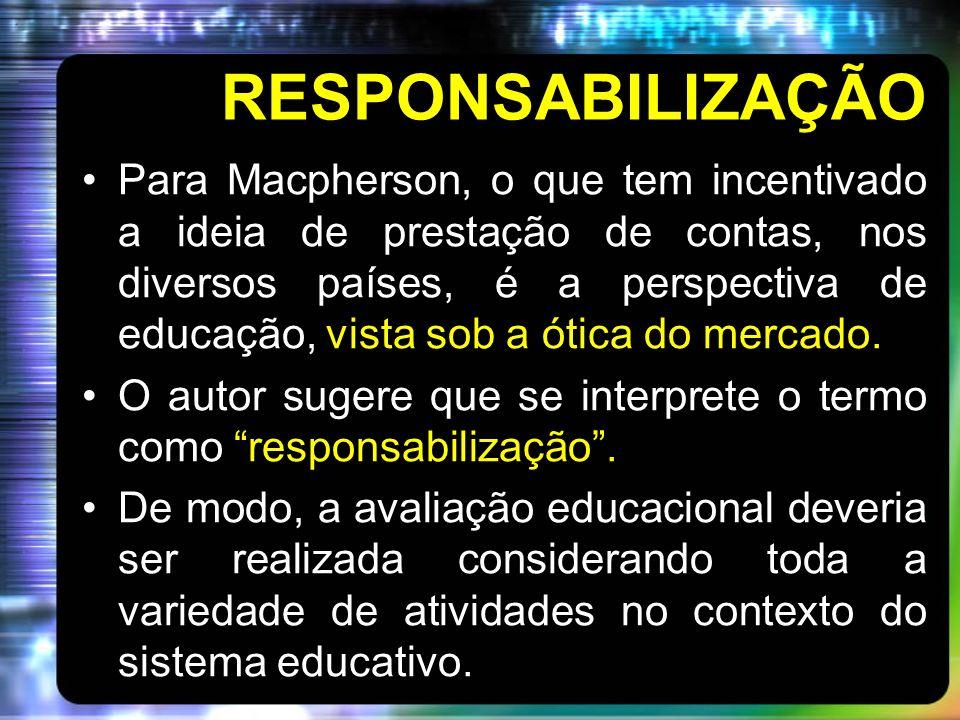 RESPONSABILIZAÇÃO Para Macpherson, o que tem incentivado a ideia de prestação de contas, nos diversos países, é a perspectiva de educação, vista sob a ótica do mercado.