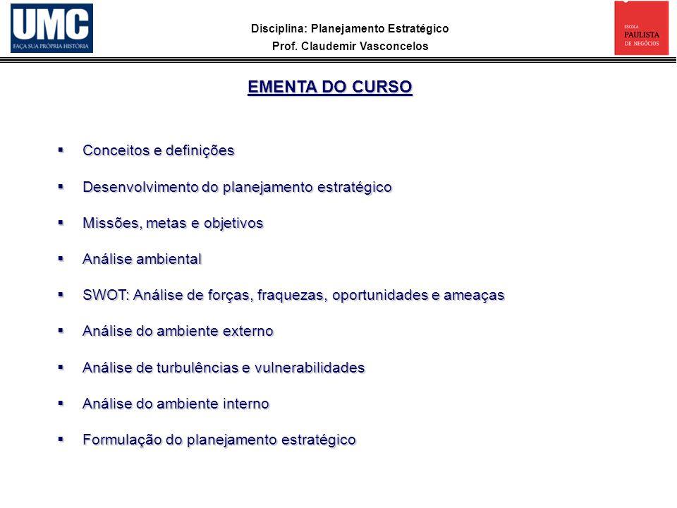 Disciplina: Planejamento Estratégico Prof. Claudemir Vasconcelos Conceitos e definições Conceitos e definições Desenvolvimento do planejamento estraté