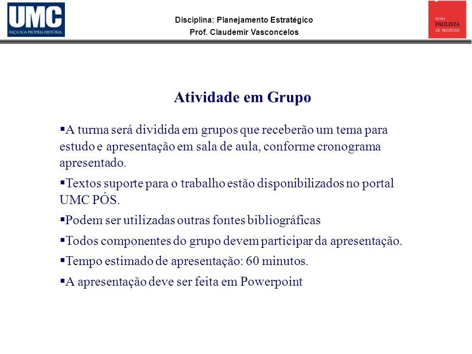 Disciplina: Planejamento Estratégico Prof. Claudemir Vasconcelos A turma será dividida em grupos que receberão um tema para estudo e apresentação em s
