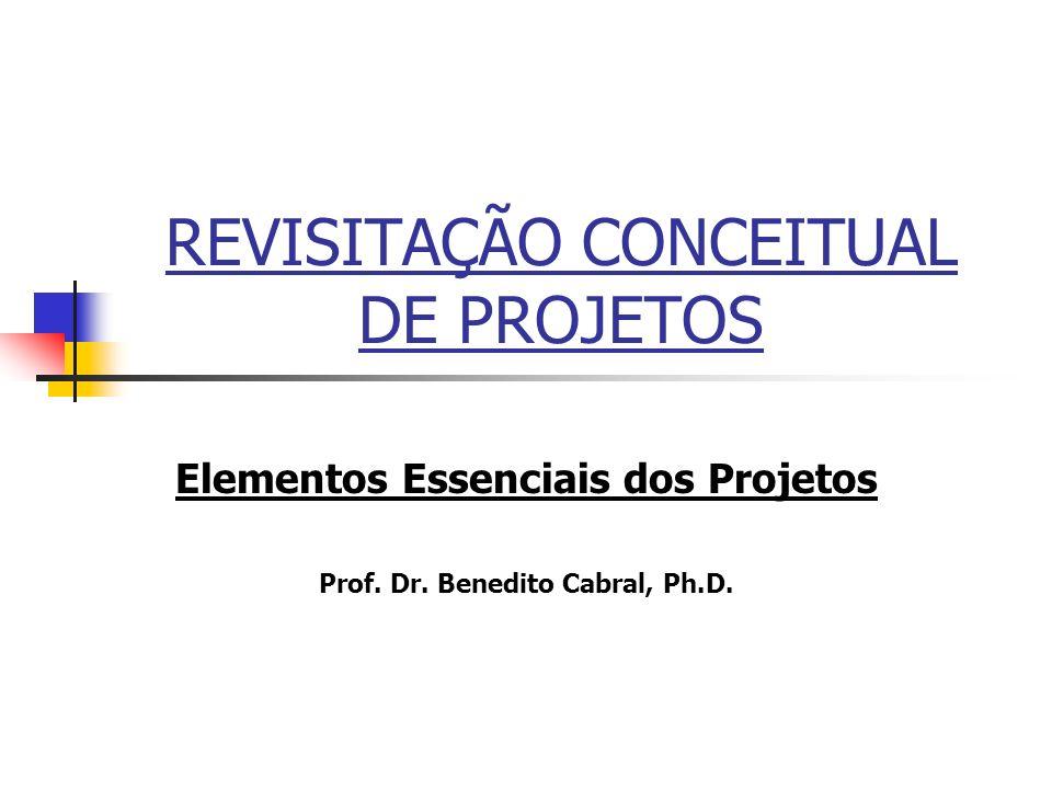 REVISITAÇÃO CONCEITUAL DE PROJETOS Elementos Essenciais dos Projetos Prof. Dr. Benedito Cabral, Ph.D.