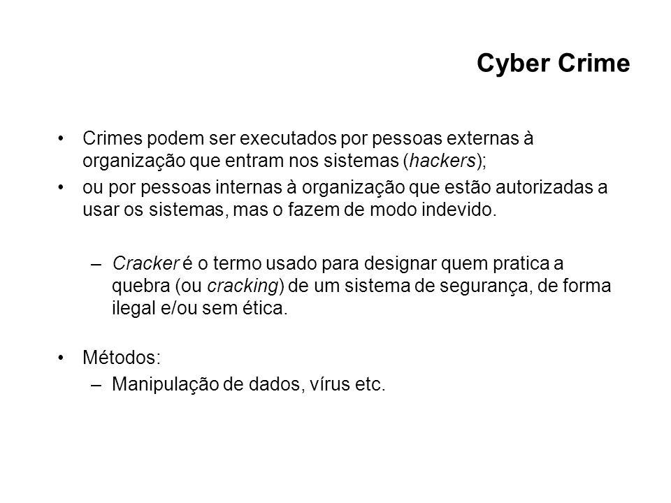 Cyber Crime Crimes podem ser executados por pessoas externas à organização que entram nos sistemas (hackers); ou por pessoas internas à organização qu