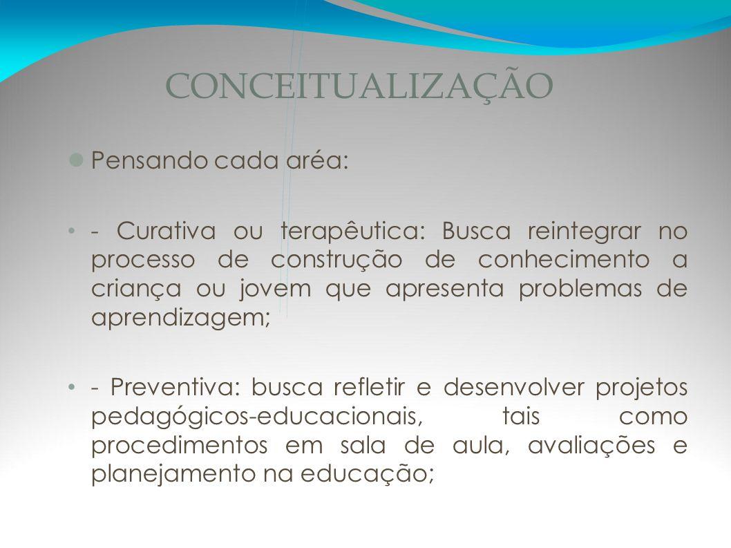 CONCEITUALIZAÇÃO Pensando cada aréa: - Curativa ou terapêutica: Busca reintegrar no processo de construção de conhecimento a criança ou jovem que apre