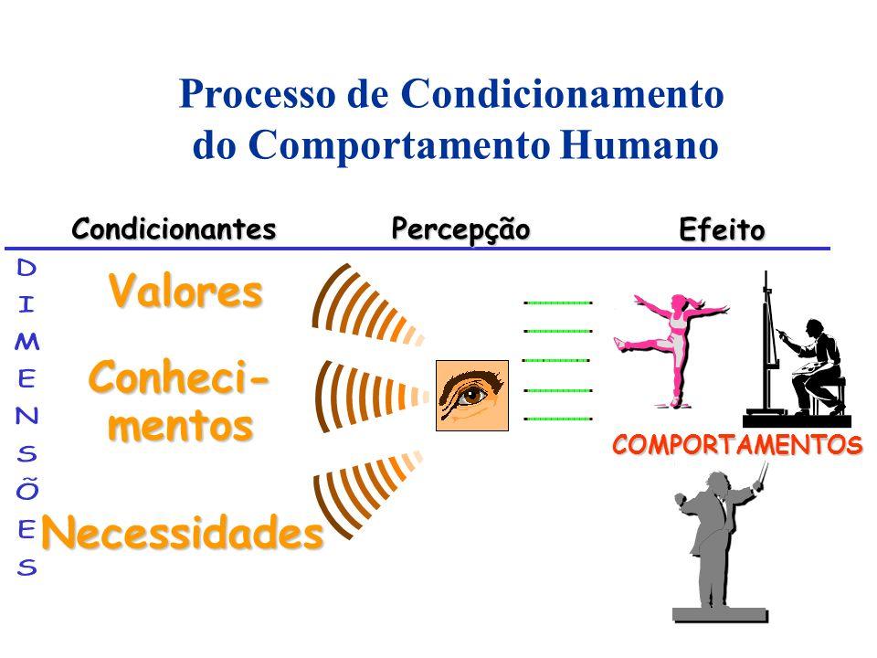 Conheci- mentos CondicionantesPercepção Efeito Valores Necessidades COMPORTAMENTOS Processo de Condicionamento do Comportamento Humano