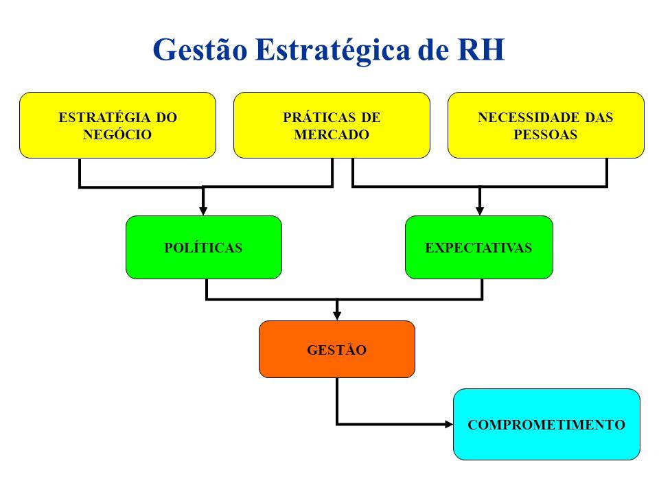 PRÁTICAS DE MERCADO NECESSIDADE DAS PESSOAS COMPROMETIMENTO POLÍTICASEXPECTATIVAS GESTÃO ESTRATÉGIA DO NEGÓCIO Gestão Estratégica de RH