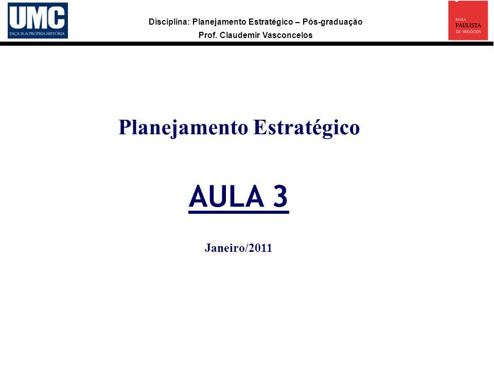 Disciplina: Planejamento Estratégico – Pós-graduação Prof. Claudemir Vasconcelos Planejamento Estratégico AULA 3 Janeiro/2011