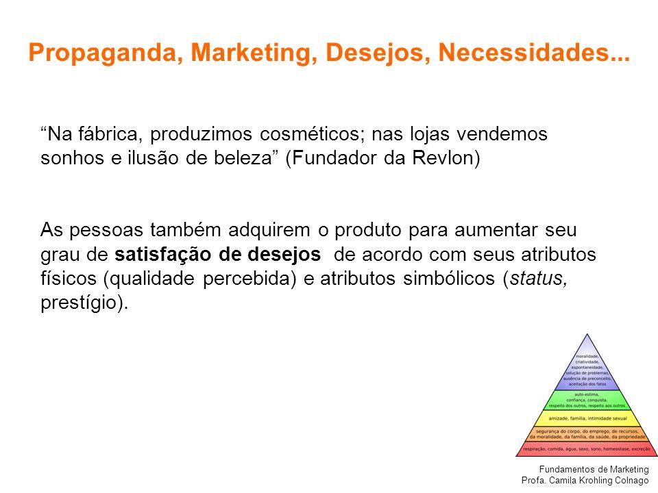 Fundamentos de Marketing Profa. Camila Krohling Colnago Propaganda, Marketing, Desejos, Necessidades... Na fábrica, produzimos cosméticos; nas lojas v