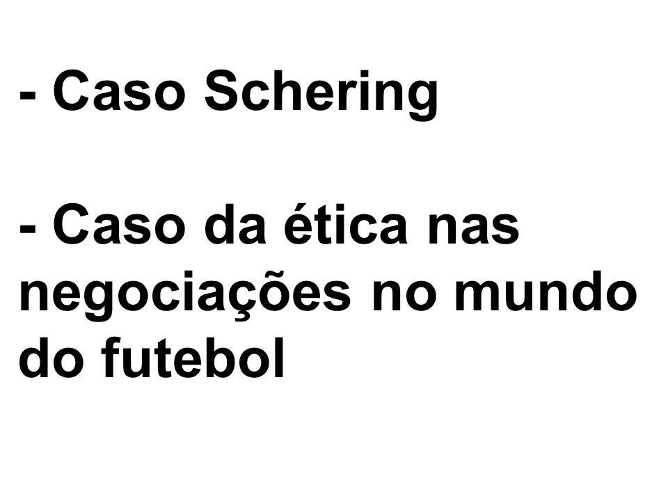 - Caso Schering - Caso da ética nas negociações no mundo do futebol