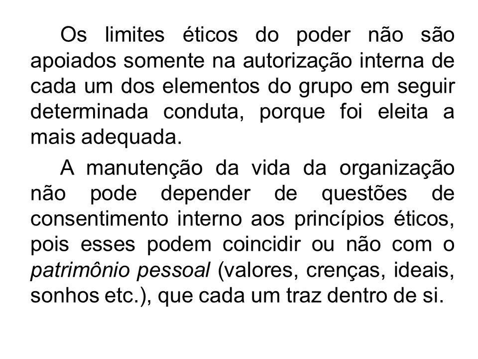 Os limites éticos do poder não são apoiados somente na autorização interna de cada um dos elementos do grupo em seguir determinada conduta, porque foi eleita a mais adequada.