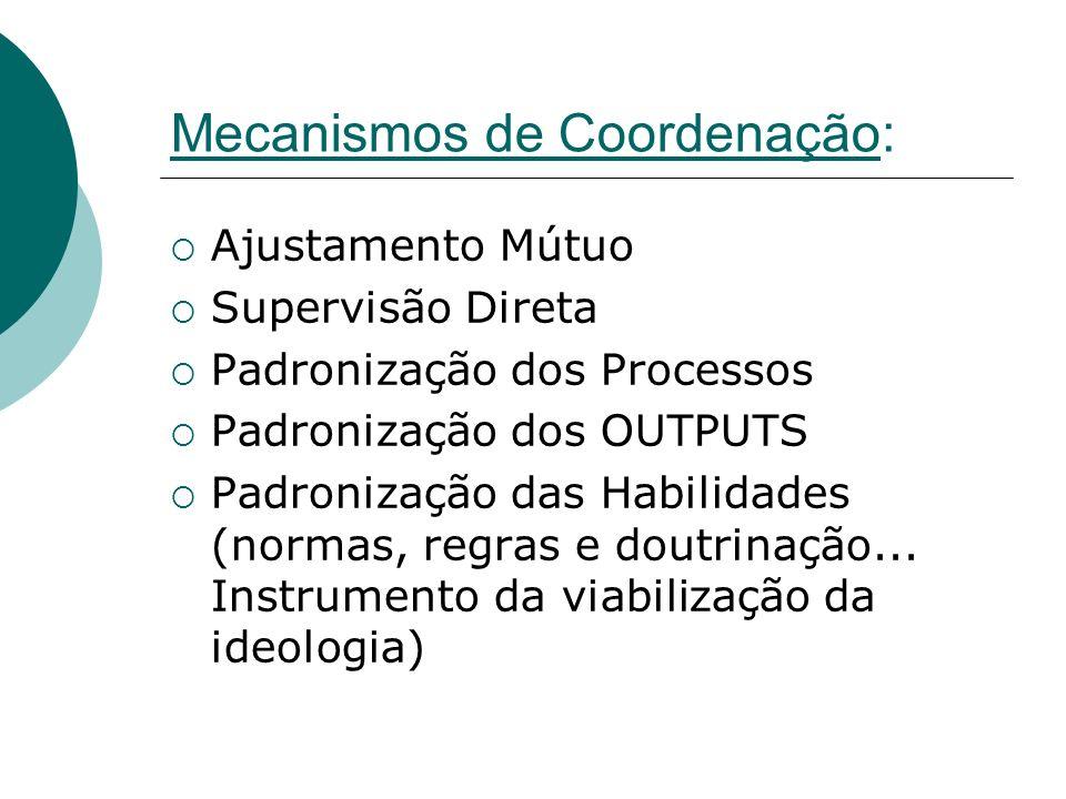 Mecanismos de Coordenação: Ajustamento Mútuo Supervisão Direta Padronização dos Processos Padronização dos OUTPUTS Padronização das Habilidades (norma