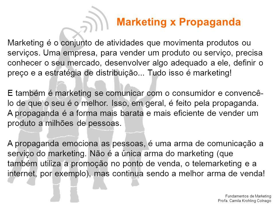 Fundamentos de Marketing Profa. Camila Krohling Colnago Marketing x Propaganda Marketing é o conjunto de atividades que movimenta produtos ou serviços