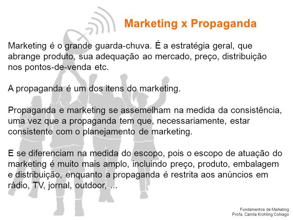 Fundamentos de Marketing Profa. Camila Krohling Colnago Marketing x Propaganda Marketing é o grande guarda-chuva. É a estratégia geral, que abrange pr