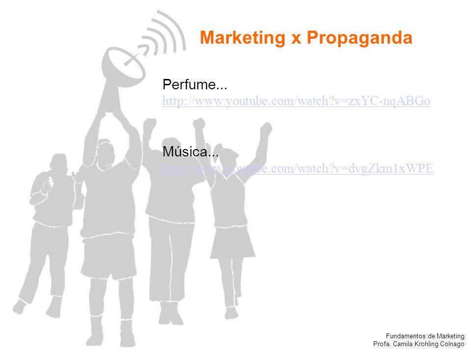 Fundamentos de Marketing Profa. Camila Krohling Colnago Marketing x Propaganda Perfume... http://www.youtube.com/watch?v=zxYC-nqABGo Música... http://