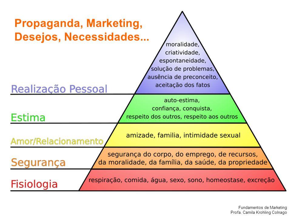 Fundamentos de Marketing Profa. Camila Krohling Colnago Propaganda, Marketing, Desejos, Necessidades...