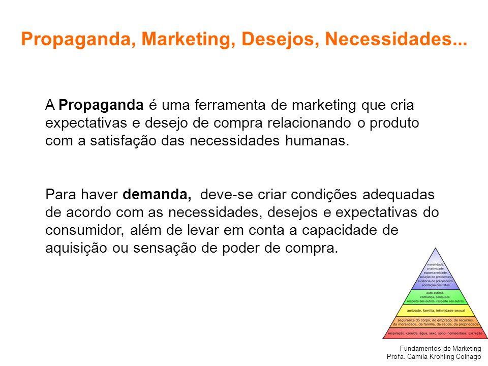Fundamentos de Marketing Profa. Camila Krohling Colnago Propaganda, Marketing, Desejos, Necessidades... A Propaganda é uma ferramenta de marketing que