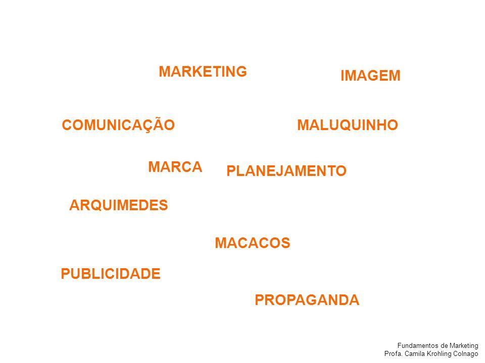 Fundamentos de Marketing Profa. Camila Krohling Colnago IMAGEM COMUNICAÇÃO PLANEJAMENTO MACACOS PUBLICIDADE ARQUIMEDES MALUQUINHO MARKETING PROPAGANDA