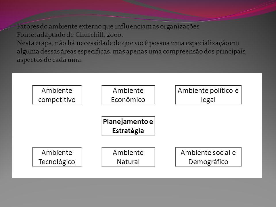 Fatores do ambiente externo que influenciam as organizações Fonte: adaptado de Churchill, 2000. Nesta etapa, não há necessidade de que você possua uma