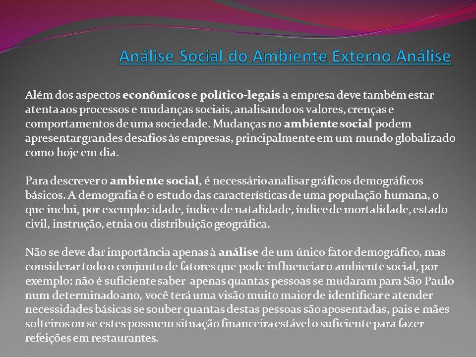 Além dos aspectos econômicos e político-legais a empresa deve também estar atenta aos processos e mudanças sociais, analisando os valores, crenças e c
