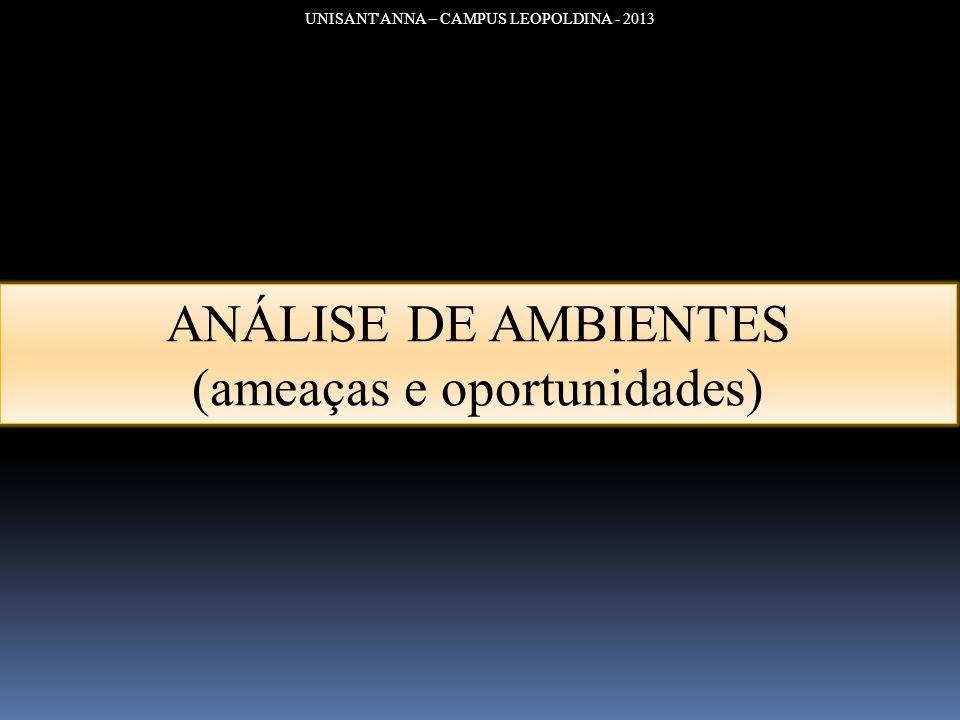 UNISANT'ANNA – CAMPUS LEOPOLDINA - 2013 ANÁLISE DE AMBIENTES (ameaças e oportunidades)