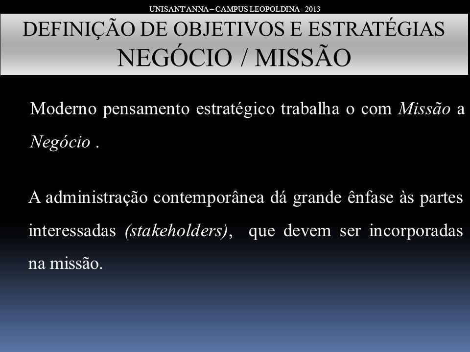 UNISANT'ANNA – CAMPUS LEOPOLDINA - 2013 DEFINIÇÃO DE OBJETIVOS E ESTRATÉGIAS NEGÓCIO / MISSÃO Moderno pensamento estratégico trabalha o com Missão a N