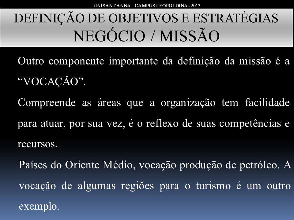 UNISANT'ANNA – CAMPUS LEOPOLDINA - 2013 DEFINIÇÃO DE OBJETIVOS E ESTRATÉGIAS NEGÓCIO / MISSÃO Outro componente importante da definição da missão é a V