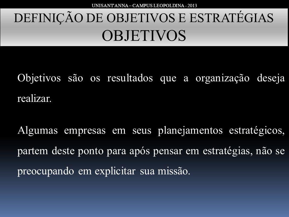 UNISANT'ANNA – CAMPUS LEOPOLDINA - 2013 DEFINIÇÃO DE OBJETIVOS E ESTRATÉGIAS OBJETIVOS Objetivos são os resultados que a organização deseja realizar.