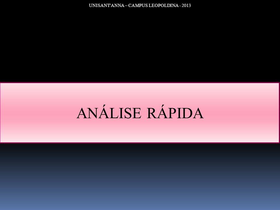 UNISANT'ANNA – CAMPUS LEOPOLDINA - 2013 ANÁLISE RÁPIDA