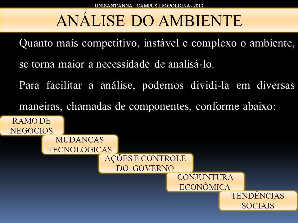 UNISANT'ANNA – CAMPUS LEOPOLDINA - 2013 Quanto mais competitivo, instável e complexo o ambiente, se torna maior a necessidade de analisá-lo. ANÁLISE D
