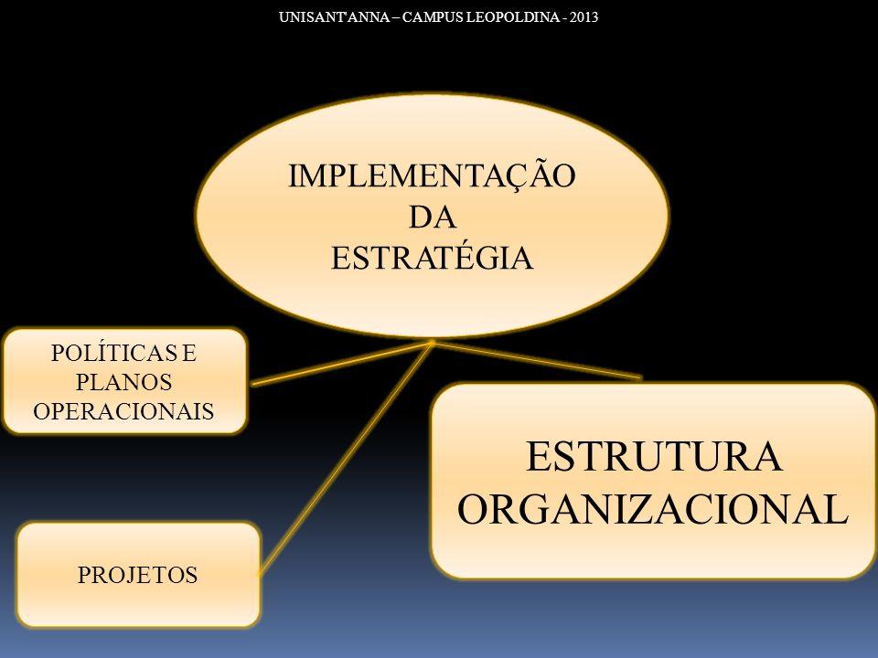 UNISANT'ANNA – CAMPUS LEOPOLDINA - 2013 IMPLEMENTAÇÃO DA ESTRATÉGIA POLÍTICAS E PLANOS OPERACIONAIS PROJETOS ESTRUTURA ORGANIZACIONAL